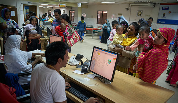 The information and registration platform at icddr,b hospital ensures accurate information. Photo: Shahzad Noorani / icddr,b